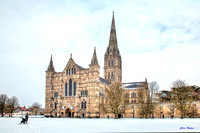 Salisbury Cathedral in the Snow